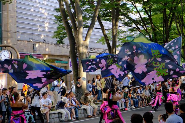 桜花散るがごときに振れる旗