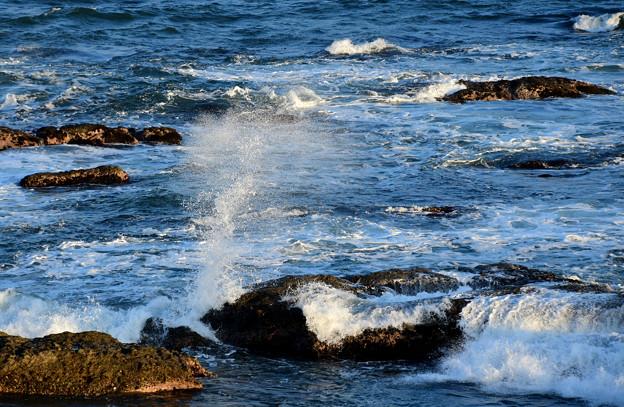 夕方の海(波しぶき)