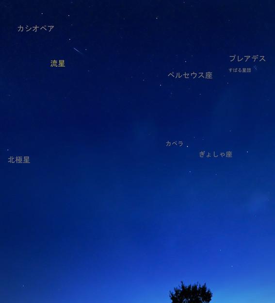 写真: ペルセウス座流星群 説明入り