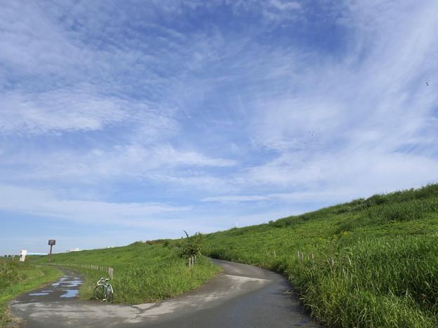 秋空と堤防