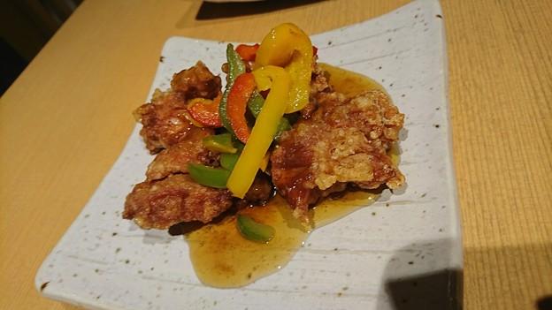 揚物:若鶏と夏野菜の黒酢餡かけ
