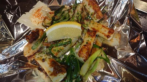 (4)イカと九条ネギの出汁醤油炒め