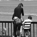 写真: 親子で見る海