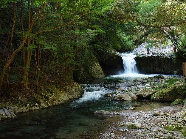写真: へび滝の流れと水辺と