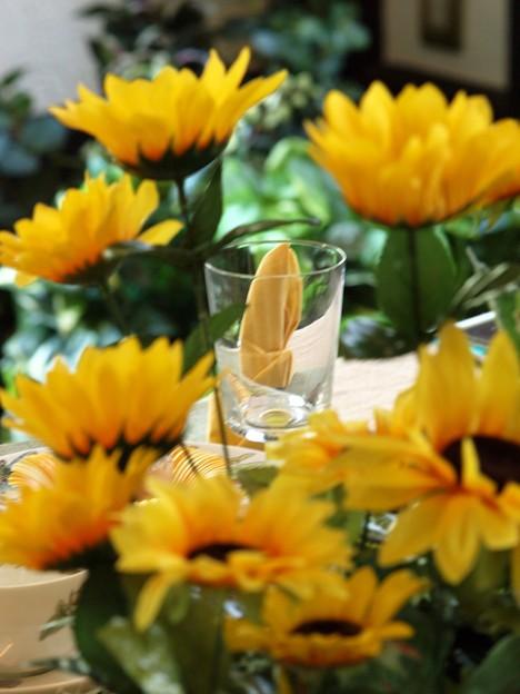 夏の元気色に覆われたグラス