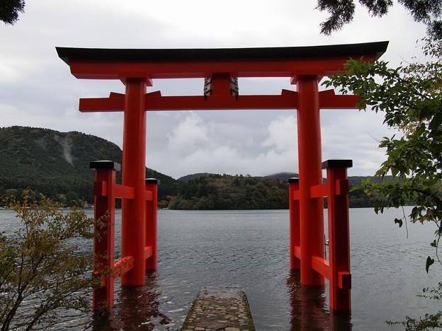 芦ノ湖を見守る鳥居