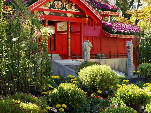 菊花に覆われた首里城正殿