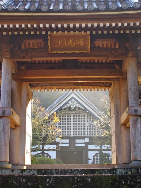 晩秋の山寺、朝陽を浴びる