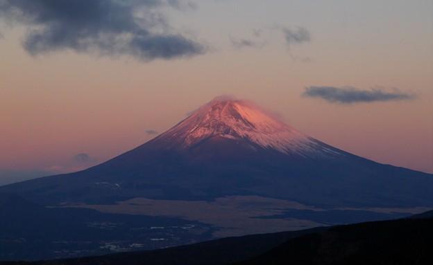 朝陽を浴びる富士のお山