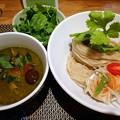 Photos: あべどりとハーブのグリーンカレーつけ麺+パクチー@生粋 花のれん・文京区茗荷谷