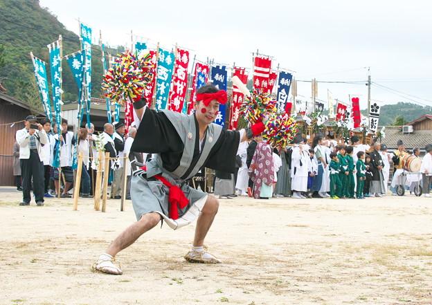 二歩方(八王子神社)の大どう打ち、 武良祭り(2)