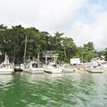 八尾川風景(8)天神さん前のイカ釣り船