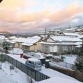 Photos: 自宅二階から、初雪の朝・西方面(1)