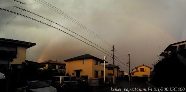 夕焼け空に虹出現!