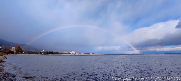 岸と水面を繋ぐ虹