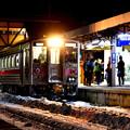 雪積る知床斜里駅