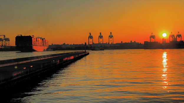 東京港の夕陽