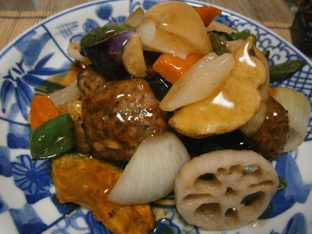 肉団子の黒酢あんかけ(鶏肉)