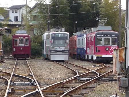豊橋鉄道市内線・赤岩口車庫に留置中の路面電車達
