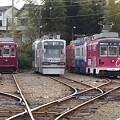 写真: 豊橋鉄道市内線・赤岩口車庫に留置中の路面電車達