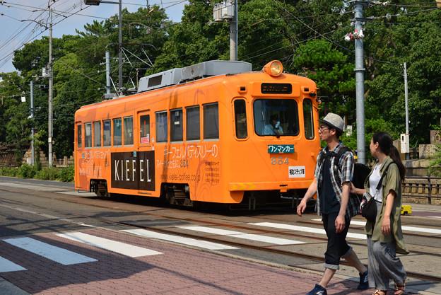 Romen Densha Hankai Tramway-12 オレンジ色車両