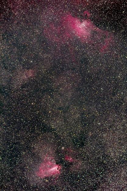 わし星雲M16と白鳥星雲M17
