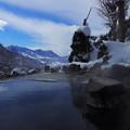 写真: 雪景色の露天風呂