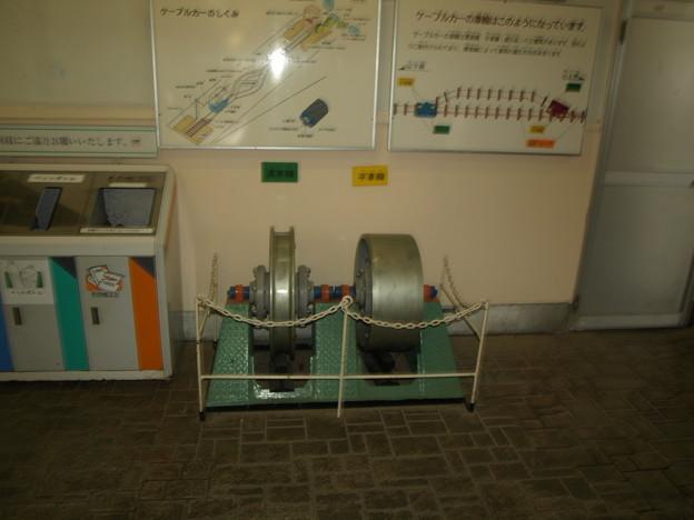 宝山寺駅での展示「ケーブルカーの車輪」
