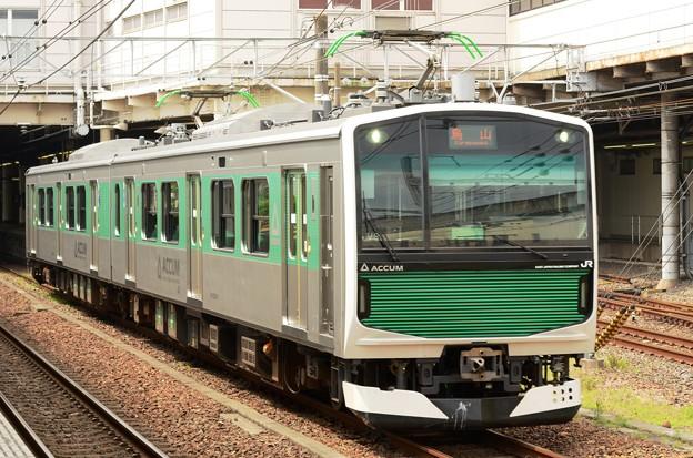 烏山線ACCUMパンタ上げて宇都宮7番発車