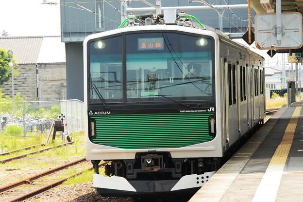 烏山線ACCUMパンタ下げて宝積寺7番発車!