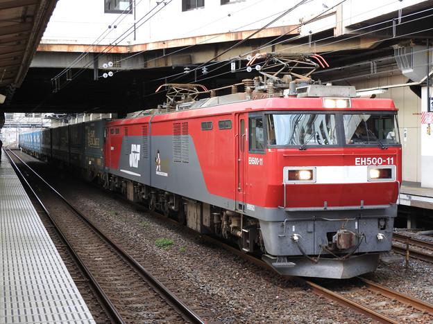 EH500 11号機牽引トヨタ・ロングパス・エクスプレス小山11番発車