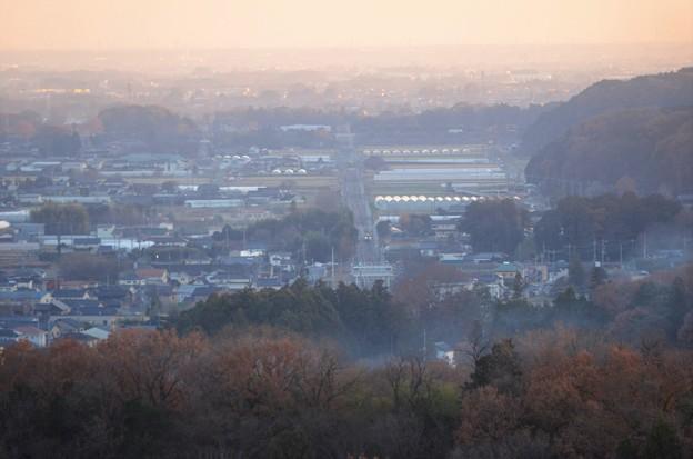 夕暮れ鹿沼富士山公園からの望遠
