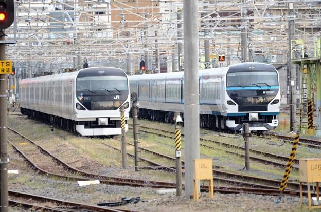 E257系0番台と2000番台の並び