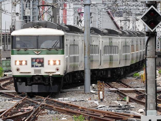 185系A7編成踊り子107号送込み回送東京9番入線
