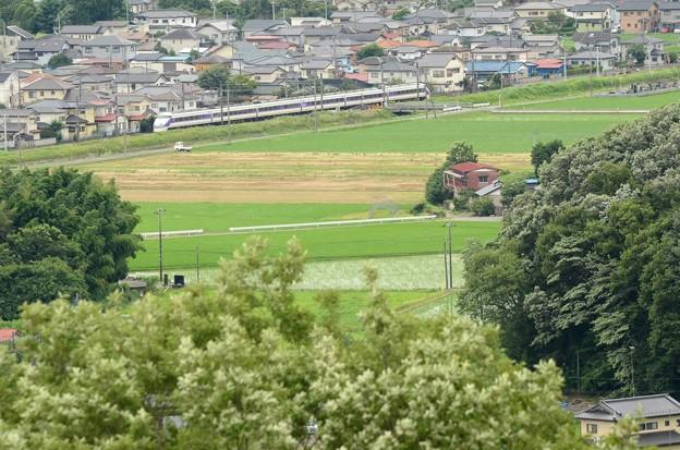 鹿沼富士山公園から望む特急スペーシア