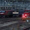 夕暮れ貨物駅の機関車並び