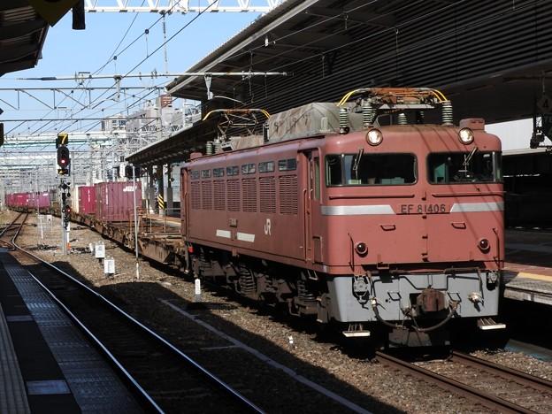 EF81 406号機牽引4095レ博多7番入線