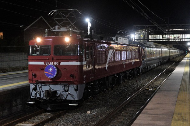 EF81 80号機牽引カシオペア紀行号雀宮2番運転停車