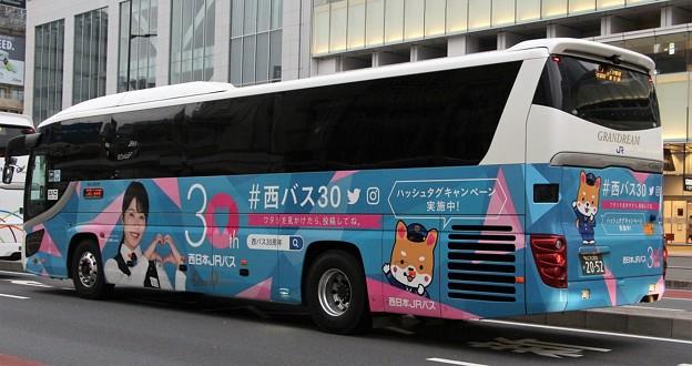 西日本JRバス 夜行高速バス「グランドリーム号」       (ハイデッカー、発足30周年記念ラッピング、後部)