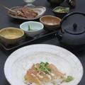 Photos: 今晩は、鯛茶漬け(鯛だし 山葵 ぶぶあられ 刻み海苔 胡麻)、かぶと煮 牛蒡 生姜、もずく酢、ゴーヤ和え、大根素麺
