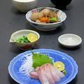 Photos: 今晩は、オキアジ造り、煮しめ(里芋、人参、牛蒡、蓮根、高野豆腐、枝豆)、間引き菜お浸し、南瓜と玉ねぎとわかめの味噌汁、ご飯