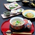 Photos: 今晩は、鯛尽くし 鯛茶漬け、鯛の塩焼き、鯛握り寿司、蓮根饅頭餡掛け つるな、そば米汁