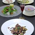 Photos: 今晩は、イベリコ豚肩ロースとやまいも 葡萄ソース、白キきくらげ(銀耳)のサラダ 梨ドレッシング、アスパラガスのグリル タルタルソース、紫芋のポタージュ、