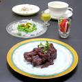 Photos: 今晩は、豚スペアリブの赤ワイン煮、白きくらげのサラダ 梨ドレッシング、旬菜ピクルス(飛鳥あかね、胡瓜、人参)、里芋のポタージュ、ミックスキヌアライス