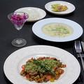Photos: 今晩は、若鶏の香草パン粉焼き 旬菜マリネ、小蕪のスープ、紫キャベツのマリネ カシューナッツの香り、ミニオムレツ、発芽玄米ご飯