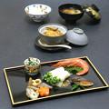Photos: 今晩は、鯛の昆布締め蕪巻き、里芋饅頭 金針菜添え、鰆の西京焼き、牡蠣の筑前煮、赤海老造り、根菜味噌汁、アピオスご飯