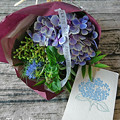 紫陽花とグリーンの花束