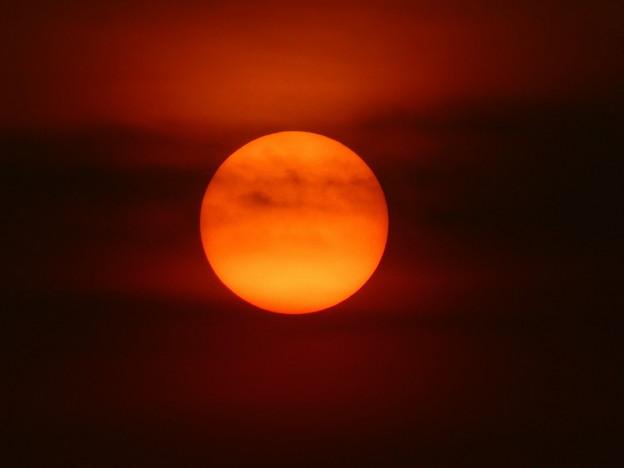 北谷の堤防から見た夕焼け