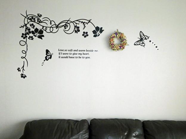 アナベルリースを壁掛けに