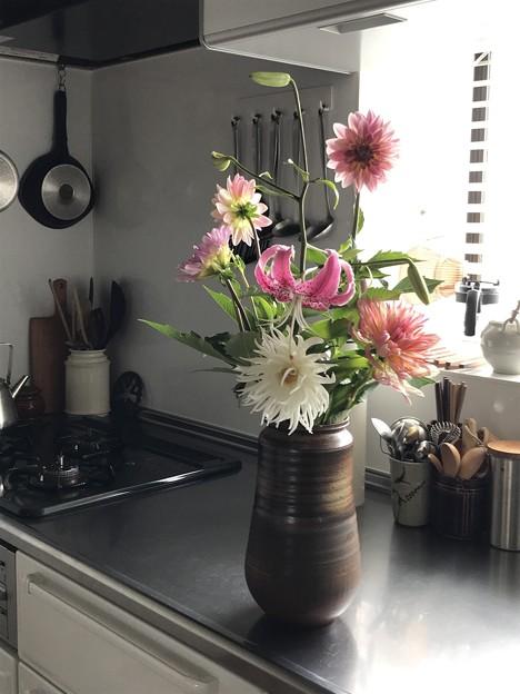 Photos: 父の花と台所